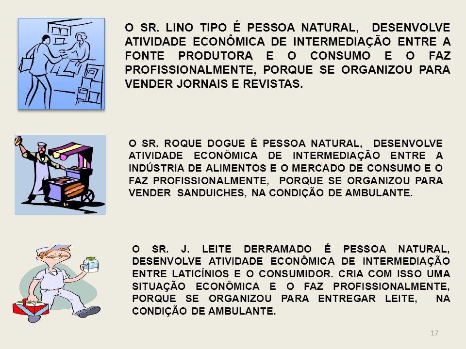 O SR. LINO TIPO É PESSOA NATURAL, DESENVOLVE ATIVIDADE ECONÔMICA DE INTERMEDIAÇÃO ENTRE A FONTE PRODUTORA E O CONSUMO E O FAZ PROFISSIONALMENTE, PORQUE SE ORGANIZOU PARA VENDER JORNAIS E REVISTAS.