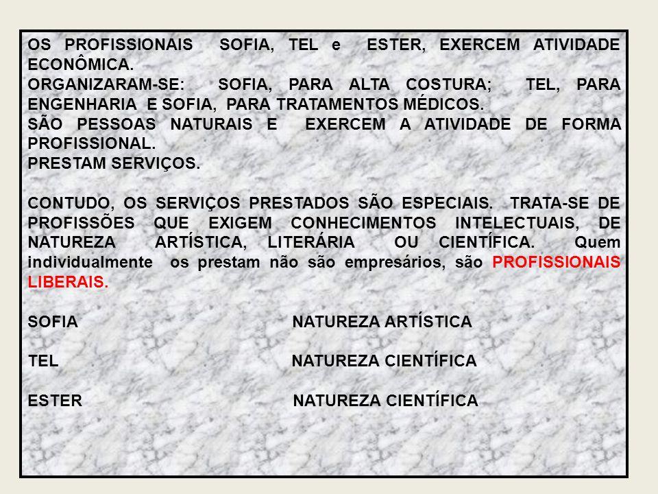 OS PROFISSIONAIS SOFIA, TEL e ESTER, EXERCEM ATIVIDADE ECONÔMICA.