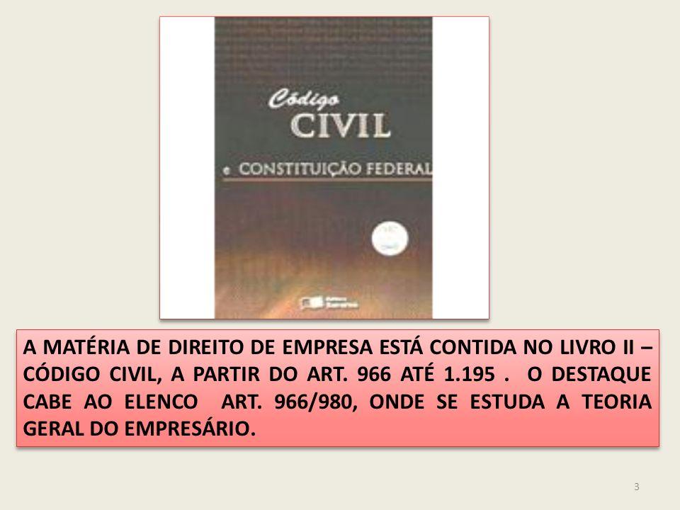 A MATÉRIA DE DIREITO DE EMPRESA ESTÁ CONTIDA NO LIVRO II – CÓDIGO CIVIL, A PARTIR DO ART. 966 ATÉ 1.195 . O DESTAQUE CABE AO ELENCO ART. 966/980, ONDE SE ESTUDA A TEORIA GERAL DO EMPRESÁRIO.