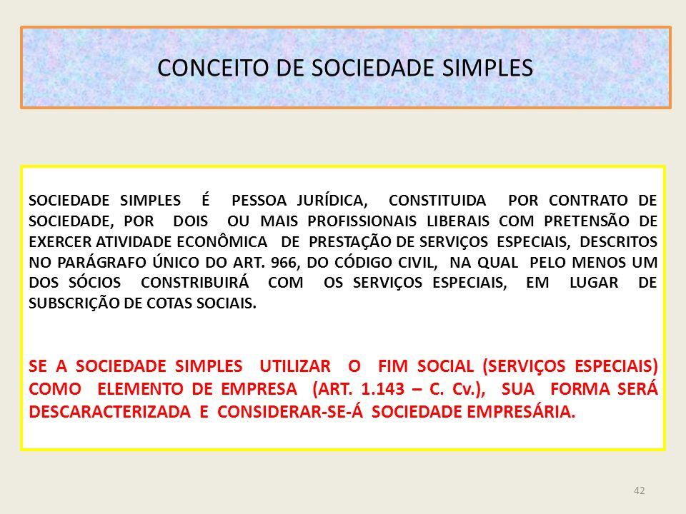 CONCEITO DE SOCIEDADE SIMPLES