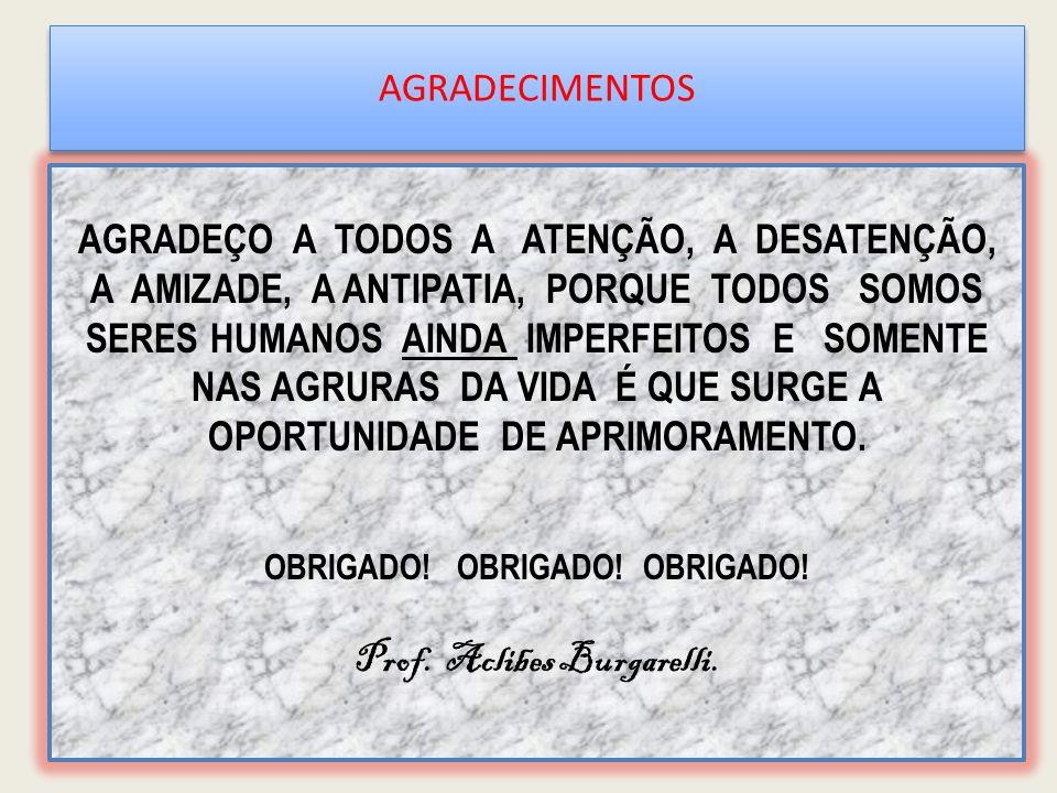 OBRIGADO! OBRIGADO! OBRIGADO! Prof. Aclibes Burgarelli.