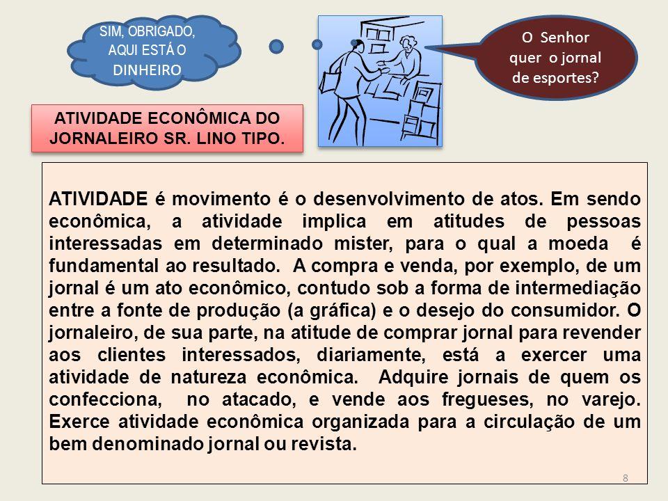 ATIVIDADE ECONÔMICA DO JORNALEIRO SR. LINO TIPO.