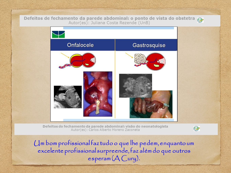 Defeitos de fechamento da parede abdominal: o ponto de vista do obstetra Autor(es): Juliana Costa Rezende (UnB)