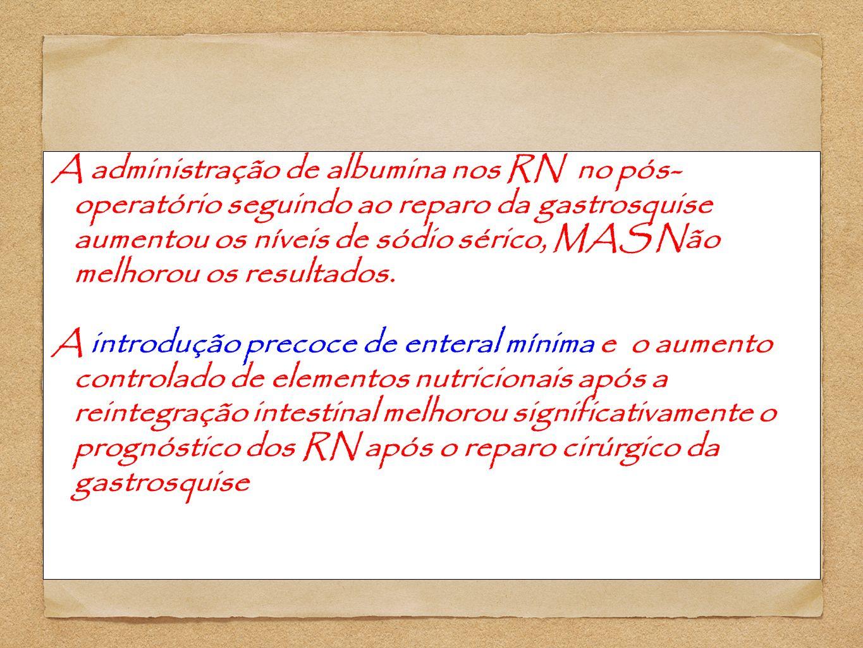 A administração de albumina nos RN no pós- operatório seguindo ao reparo da gastrosquise aumentou os níveis de sódio sérico, MAS Não melhorou os resultados.
