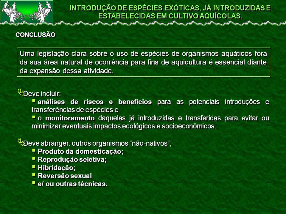 INTRODUÇÃO DE ESPÉCIES EXÓTICAS, JÁ INTRODUZIDAS E ESTABELECIDAS EM CULTIVO AQUÍCOLAS.