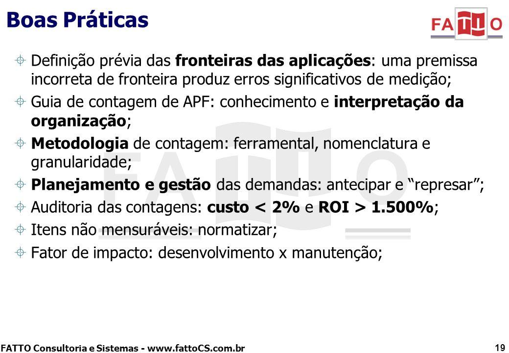 Boas PráticasDefinição prévia das fronteiras das aplicações: uma premissa incorreta de fronteira produz erros significativos de medição;
