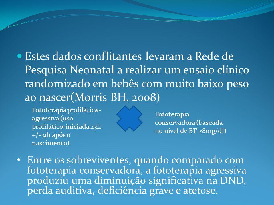Estes dados conflitantes levaram a Rede de Pesquisa Neonatal a realizar um ensaio clínico randomizado em bebês com muito baixo peso ao nascer(Morris BH, 2008)