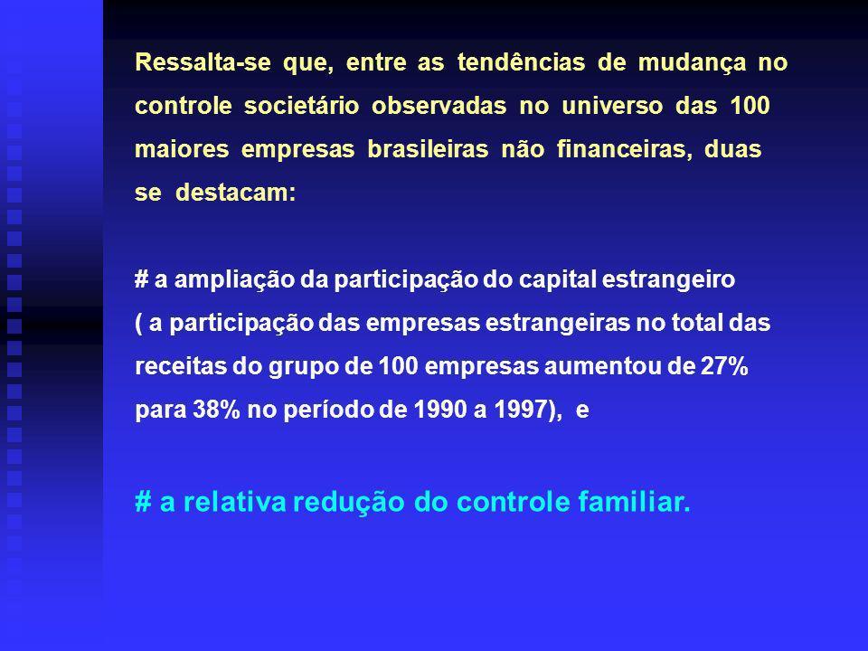 # a relativa redução do controle familiar.