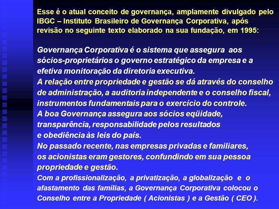 Esse é o atual conceito de governança, amplamente divulgado pelo IBGC – Instituto Brasileiro de Governança Corporativa, após revisão no seguinte texto elaborado na sua fundação, em 1995: