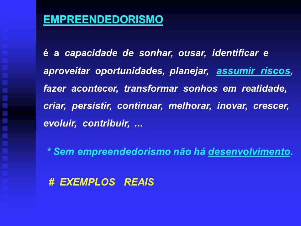 EMPREENDEDORISMO * Sem empreendedorismo não há desenvolvimento.