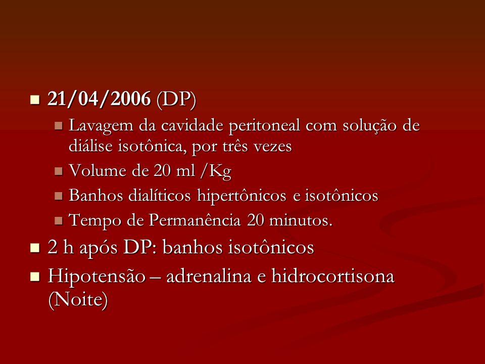 2 h após DP: banhos isotônicos