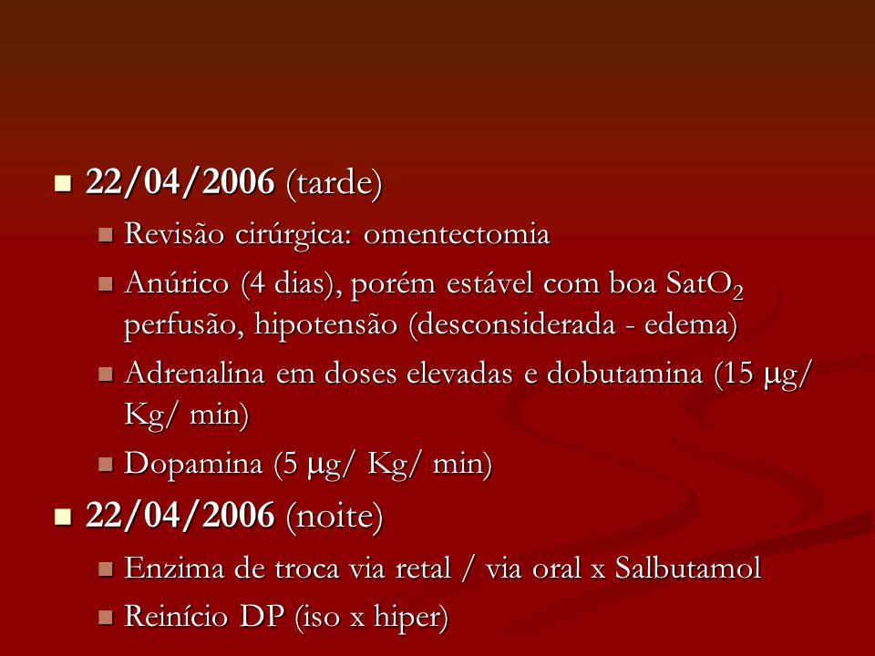 22/04/2006 (tarde) 22/04/2006 (noite) Revisão cirúrgica: omentectomia