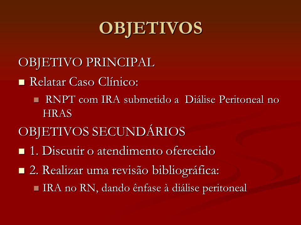 OBJETIVOS OBJETIVO PRINCIPAL Relatar Caso Clínico: