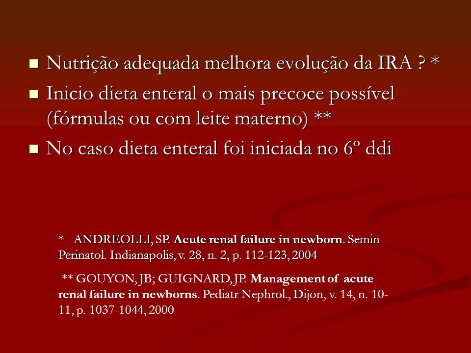 Nutrição adequada melhora evolução da IRA *