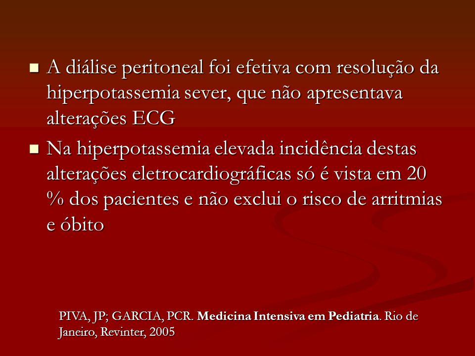 A diálise peritoneal foi efetiva com resolução da hiperpotassemia sever, que não apresentava alterações ECG