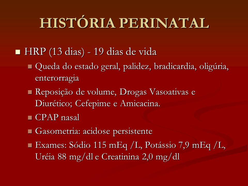 HISTÓRIA PERINATAL HRP (13 dias) - 19 dias de vida