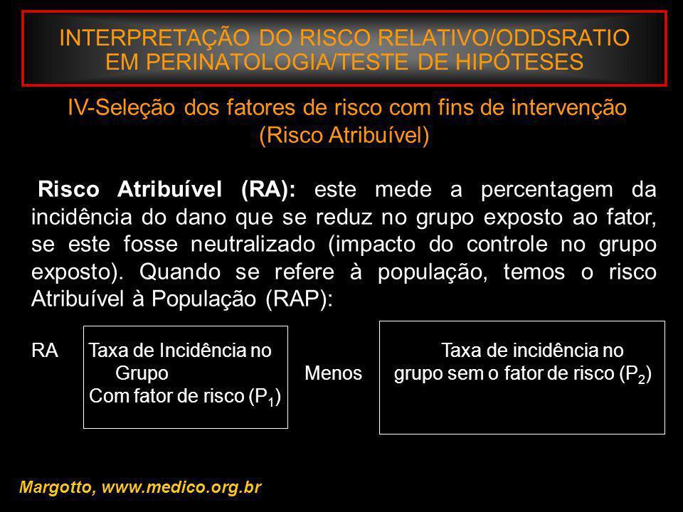 INTERPRETAÇÃO DO RISCO RELATIVO/ODDSRATIO EM PERINATOLOGIA/TESTE DE HIPÓTESES