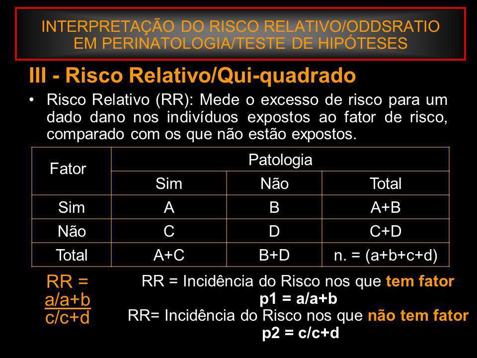 III - Risco Relativo/Qui-quadrado
