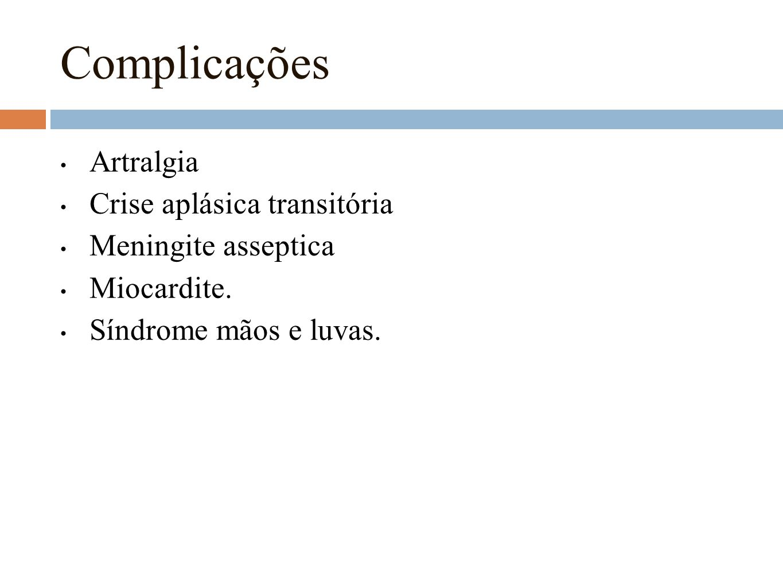 Complicações Artralgia Crise aplásica transitória Meningite asseptica