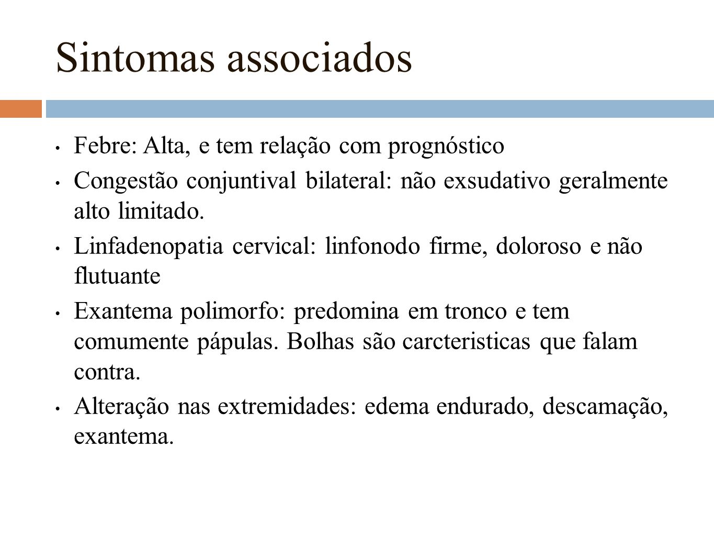 Sintomas associados Febre: Alta, e tem relação com prognóstico