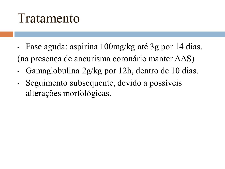 Tratamento Fase aguda: aspirina 100mg/kg até 3g por 14 dias.