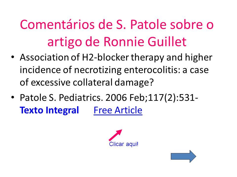 Comentários de S. Patole sobre o artigo de Ronnie Guillet