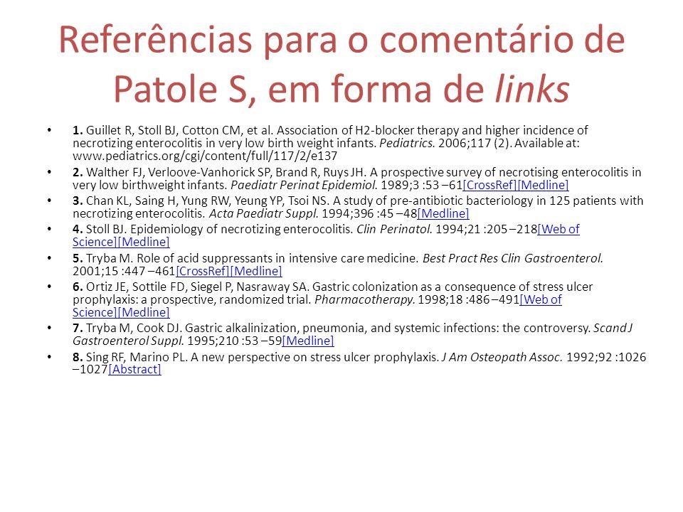 Referências para o comentário de Patole S, em forma de links