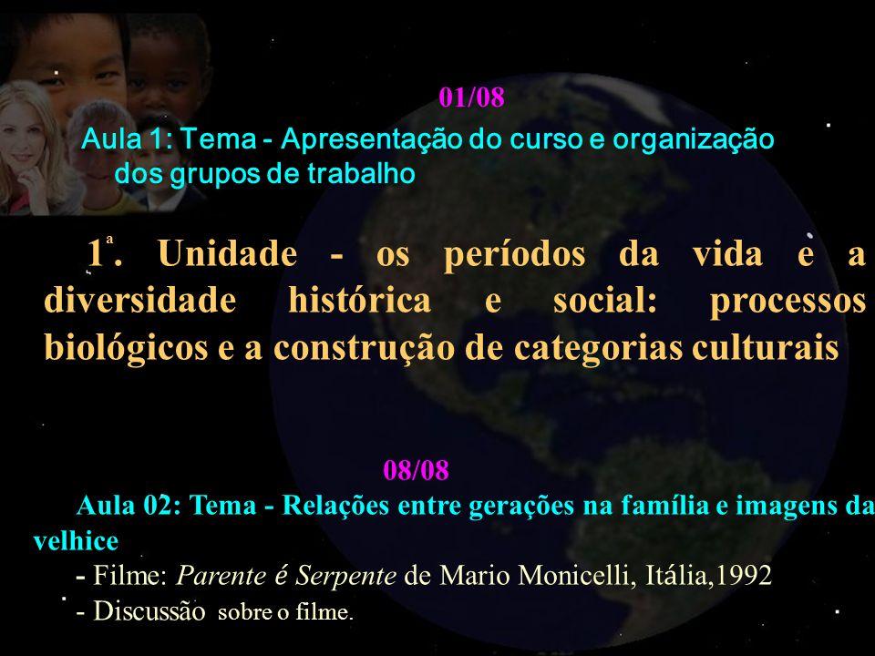 01/08. Aula 1: Tema - Apresentação do curso e organização dos grupos de trabalho.