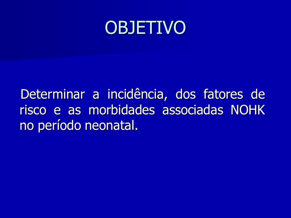 OBJETIVO Determinar a incidência, dos fatores de risco e as morbidades associadas NOHK no período neonatal.