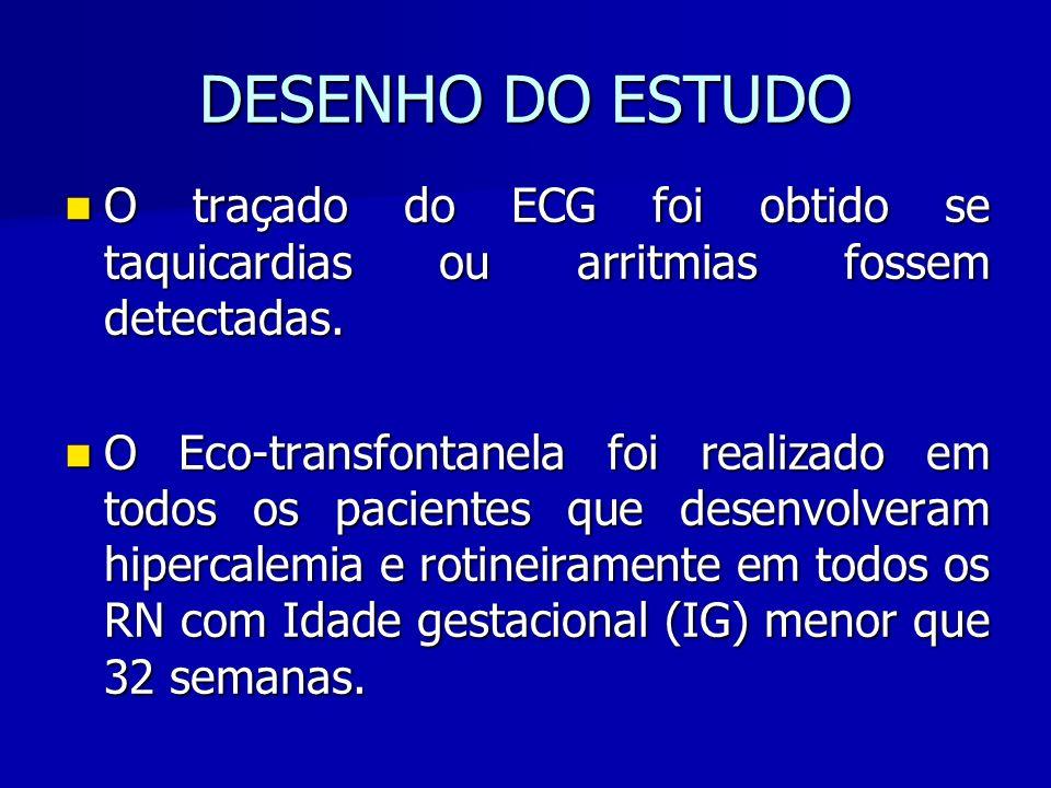 DESENHO DO ESTUDO O traçado do ECG foi obtido se taquicardias ou arritmias fossem detectadas.