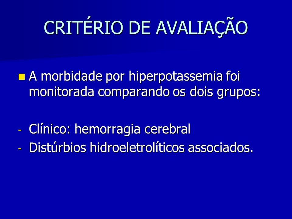 CRITÉRIO DE AVALIAÇÃO A morbidade por hiperpotassemia foi monitorada comparando os dois grupos: Clínico: hemorragia cerebral.