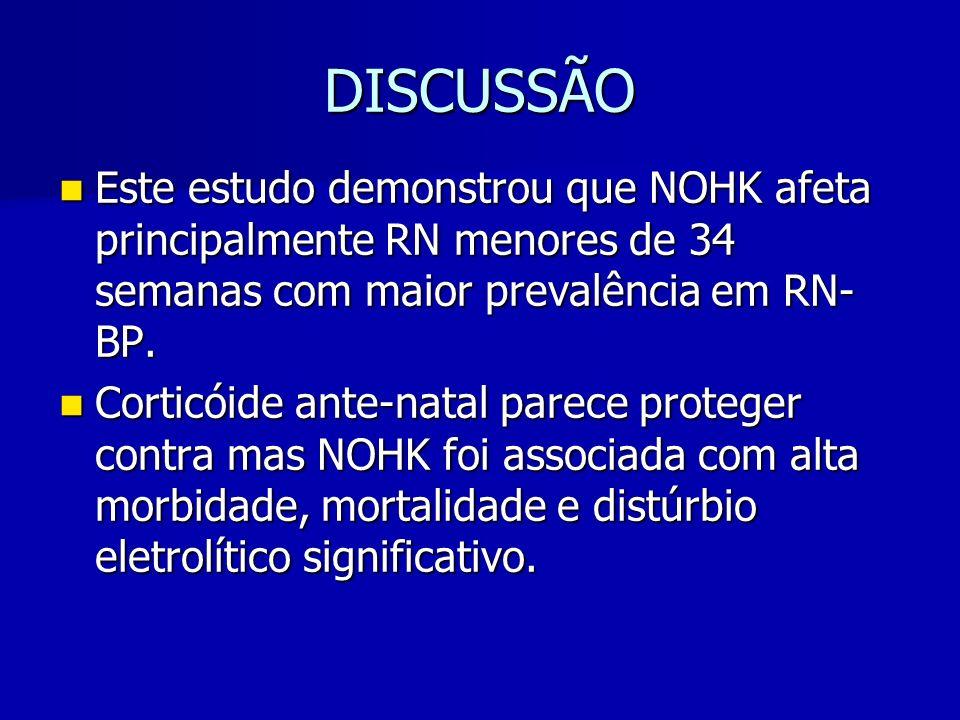 DISCUSSÃO Este estudo demonstrou que NOHK afeta principalmente RN menores de 34 semanas com maior prevalência em RN-BP.