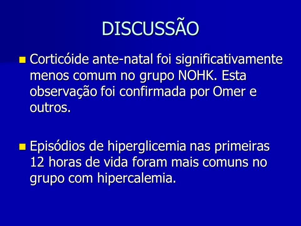 DISCUSSÃO Corticóide ante-natal foi significativamente menos comum no grupo NOHK. Esta observação foi confirmada por Omer e outros.