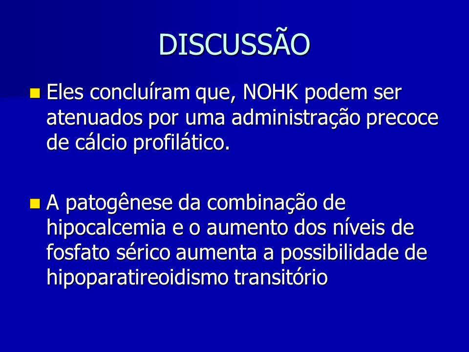 DISCUSSÃO Eles concluíram que, NOHK podem ser atenuados por uma administração precoce de cálcio profilático.