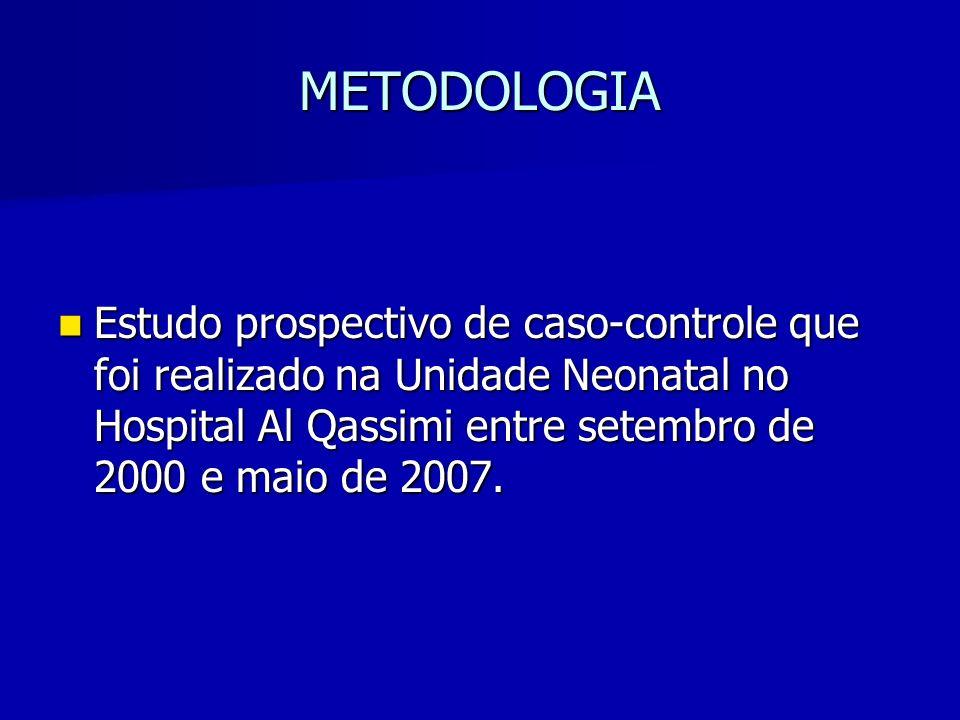 METODOLOGIA Estudo prospectivo de caso-controle que foi realizado na Unidade Neonatal no Hospital Al Qassimi entre setembro de 2000 e maio de 2007.