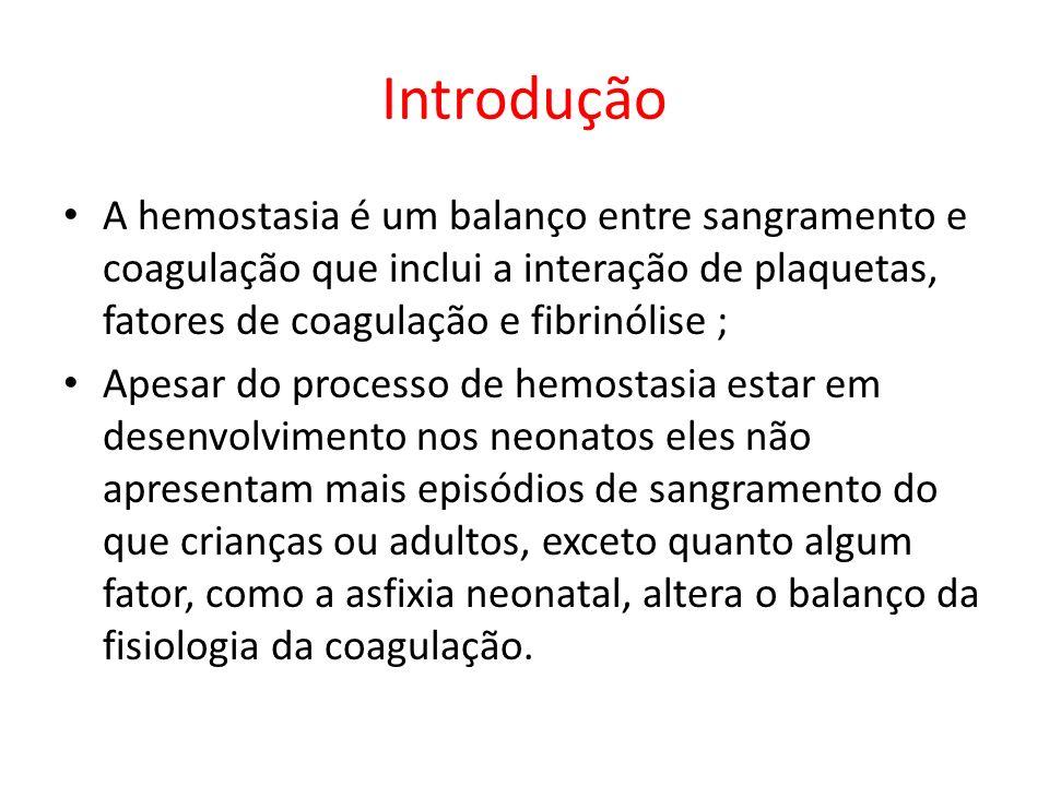 Introdução A hemostasia é um balanço entre sangramento e coagulação que inclui a interação de plaquetas, fatores de coagulação e fibrinólise ;
