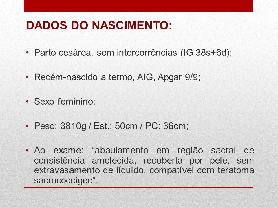 DADOS DO NASCIMENTO: Parto cesárea, sem intercorrências (IG 38s+6d);