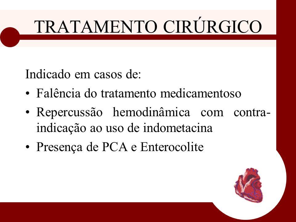 TRATAMENTO CIRÚRGICO Indicado em casos de: