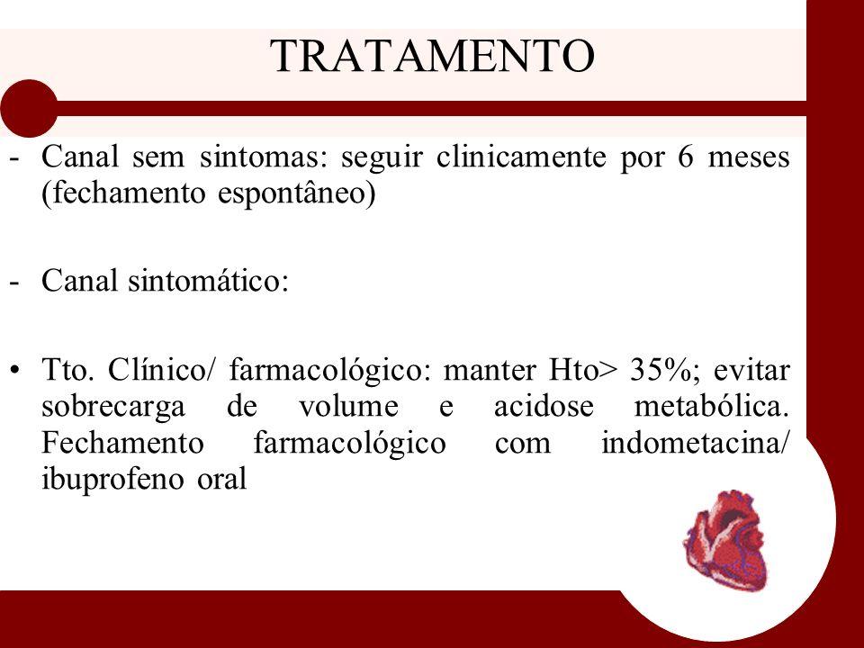 TRATAMENTO Canal sem sintomas: seguir clinicamente por 6 meses (fechamento espontâneo) Canal sintomático: