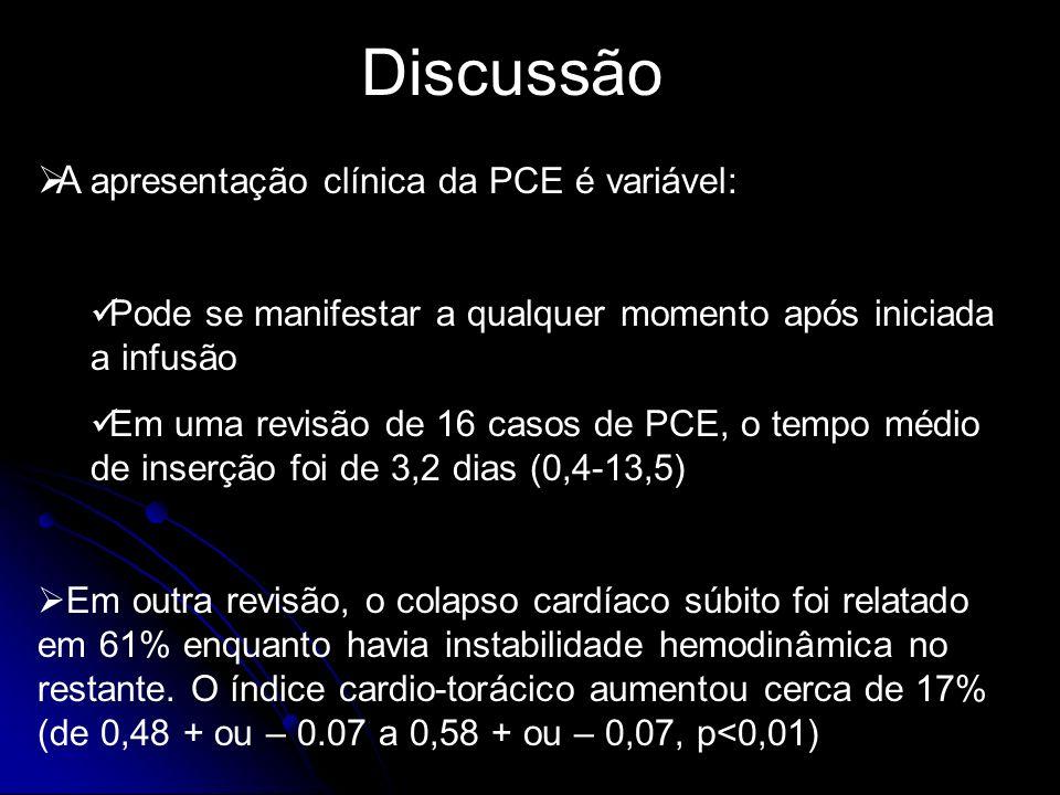 Discussão A apresentação clínica da PCE é variável: