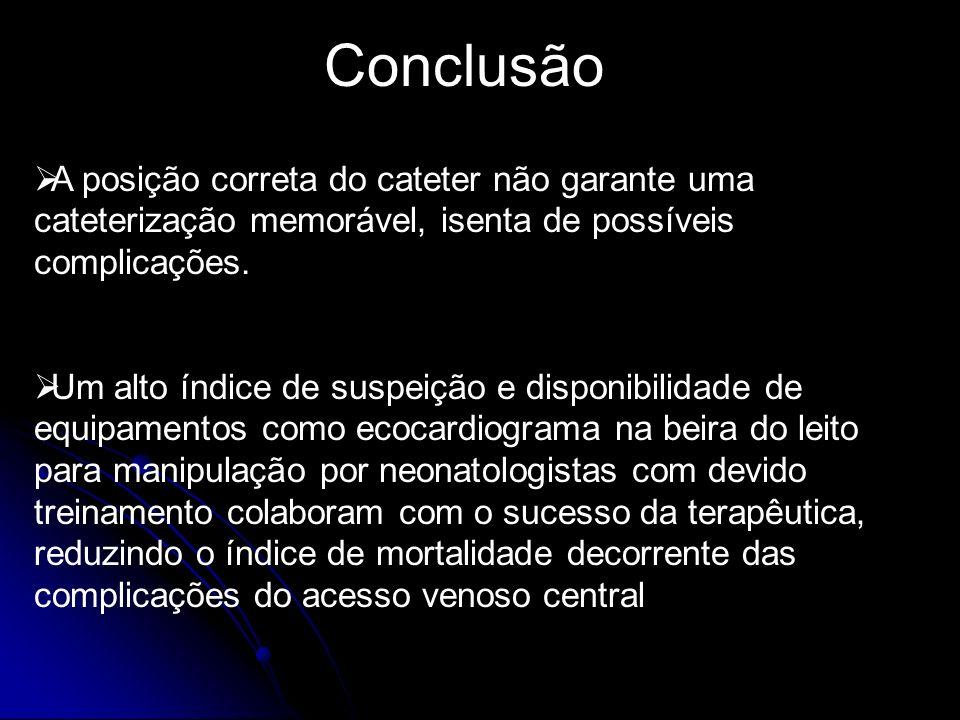 Conclusão A posição correta do cateter não garante uma cateterização memorável, isenta de possíveis complicações.