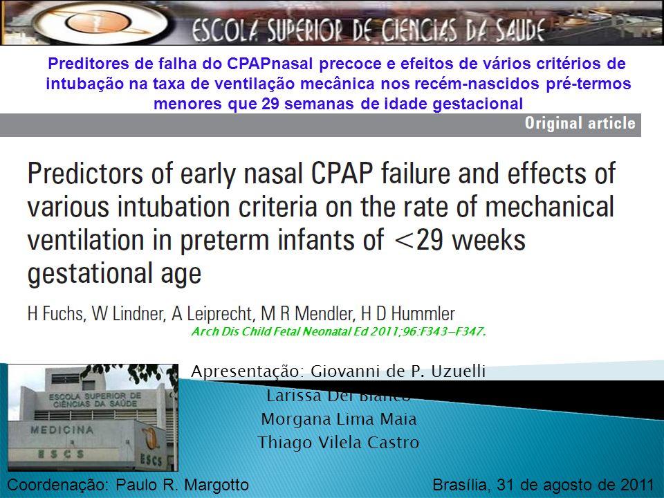 intubação na taxa de ventilação mecânica nos recém-nascidos pré-termos