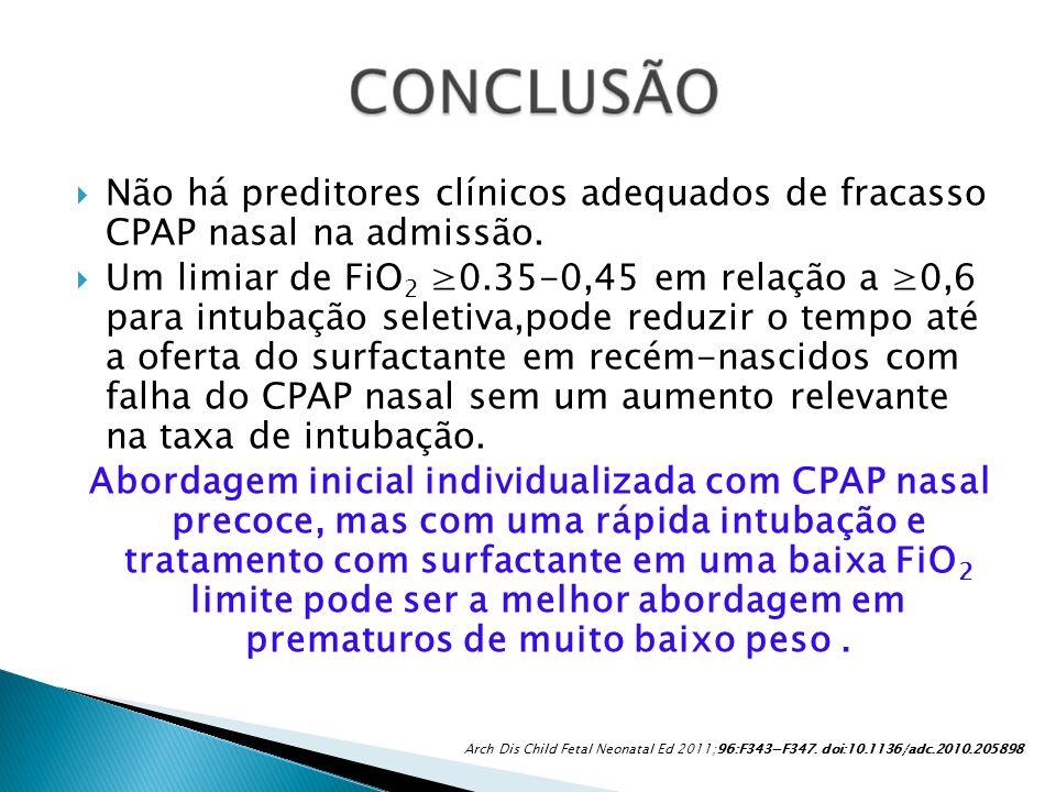 Não há preditores clínicos adequados de fracasso CPAP nasal na admissão.