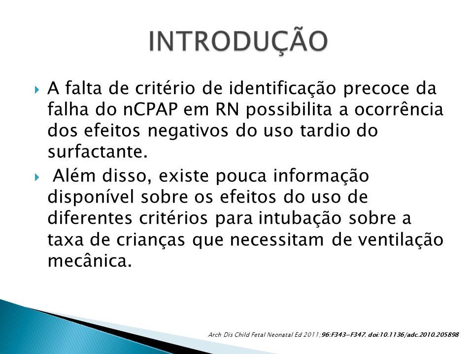 A falta de critério de identificação precoce da falha do nCPAP em RN possibilita a ocorrência dos efeitos negativos do uso tardio do surfactante.