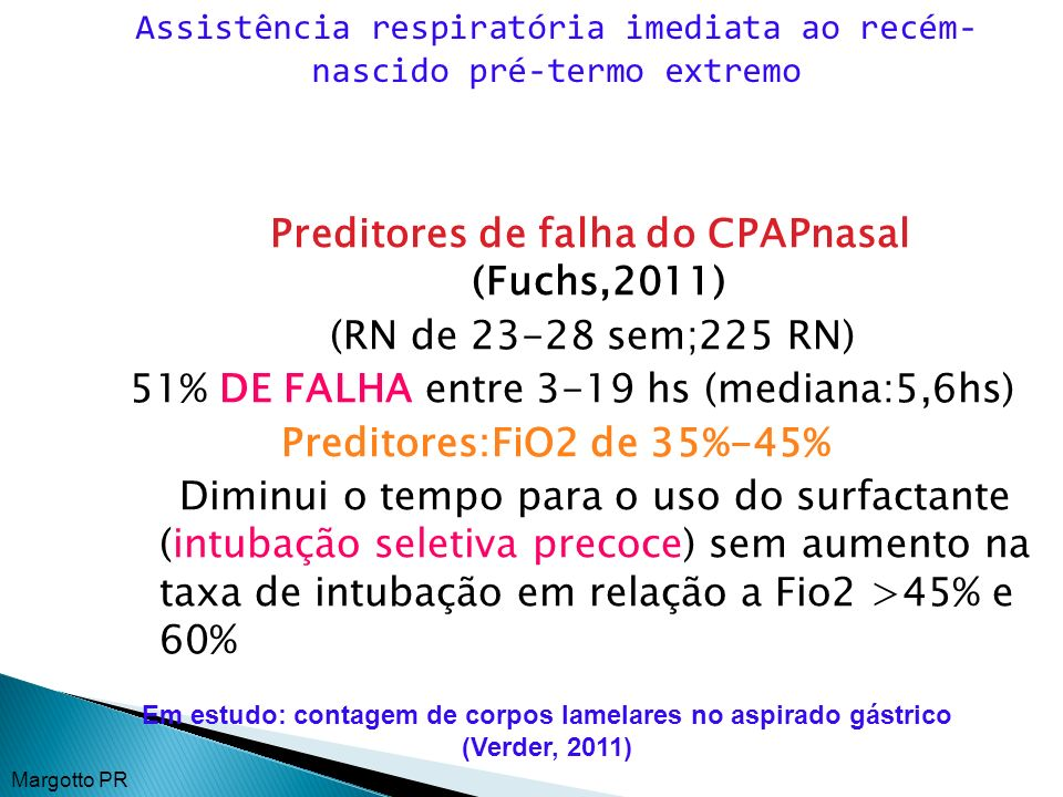 Preditores de falha do CPAPnasal (Fuchs,2011)