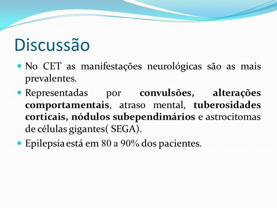 Discussão No CET as manifestações neurológicas são as mais prevalentes.