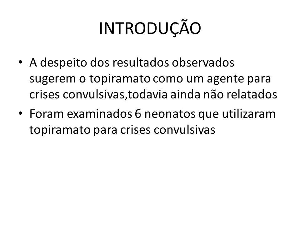 INTRODUÇÃO A despeito dos resultados observados sugerem o topiramato como um agente para crises convulsivas,todavia ainda não relatados.