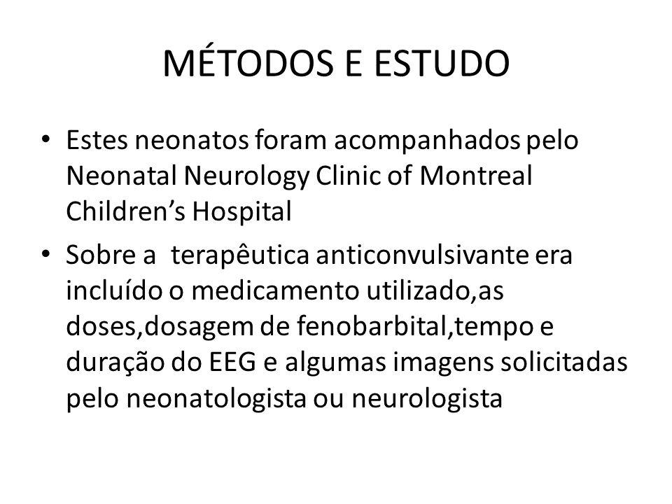 MÉTODOS E ESTUDO Estes neonatos foram acompanhados pelo Neonatal Neurology Clinic of Montreal Children's Hospital.