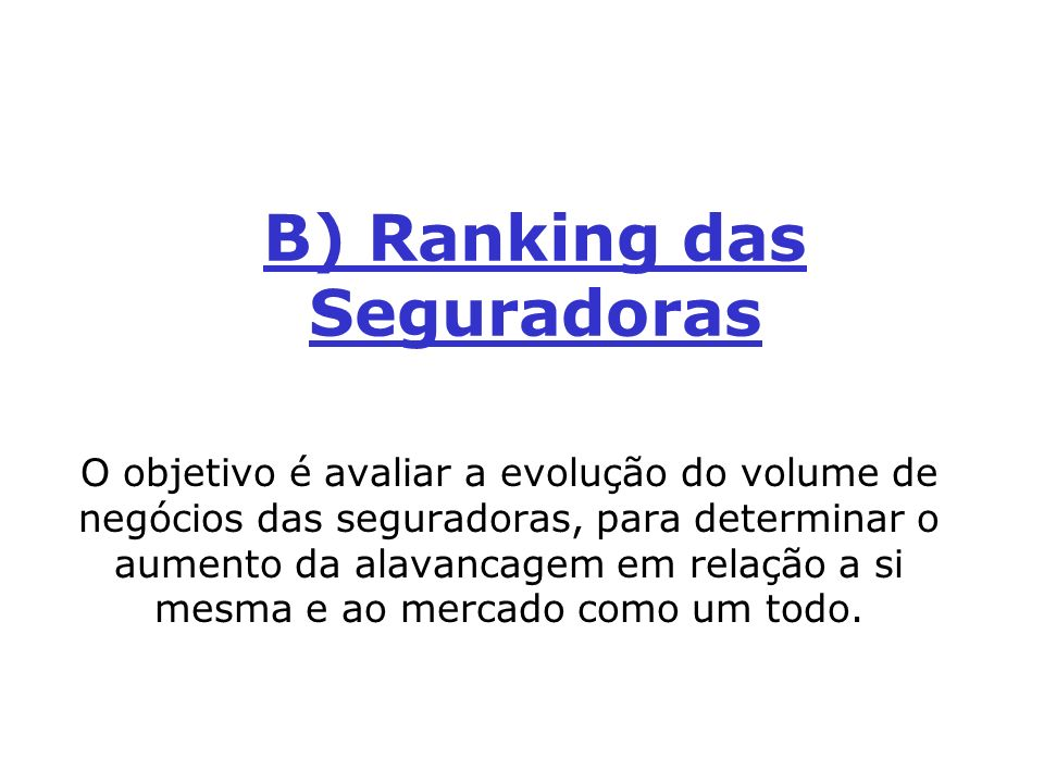 B) Ranking das Seguradoras