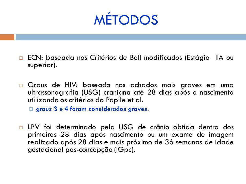 MÉTODOS ECN: baseada nos Critérios de Bell modificados (Estágio IIA ou superior).